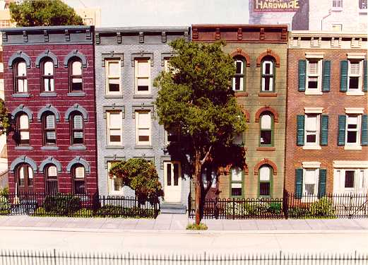 Row houses with blinds